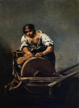 "Francisco de Goya y Lucientes, ""Knife Grinder"" (1808-1812), Oil on canvas, 68 x 50.5 cm. Szépmûvészeti Múzeum, Budapest. (Image via Web Gallery of Art) Click to enlarge."