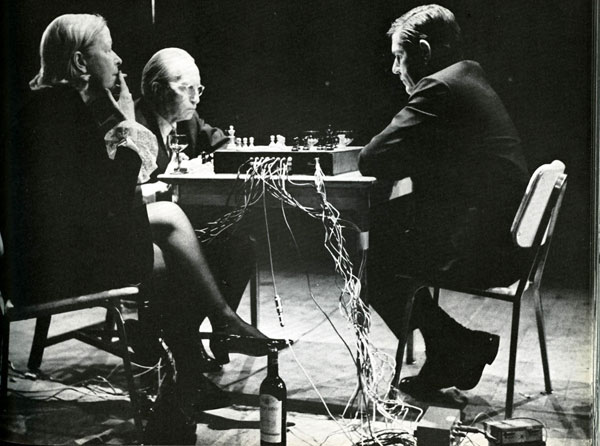 Marcel Duchamp playing chess with John Cage (Image via parsons.edu)