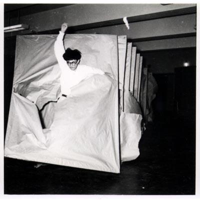 Murakami Saburō  Passing Through, 1956  Performance view: 2nd Gutai Art Exhibition, Ohara Kaikan, Tokyo, ca. October 11–17, 1956  © Murakami Makiko and the former members of the Gutai Art Association, courtesy Museum of Osaka University