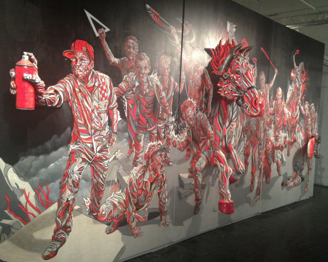 Shaka, Street Allegory (Triptych), oil, foam and plaster on canvas (all photos, unless otherwise noted, by author)