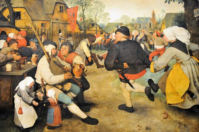"""Pieter Bruegel the Elder, """"Peasant Dance"""" (1568) (via flickr.com/mbell1975)"""