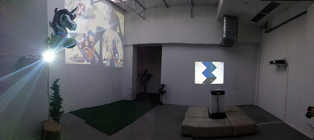 """Panorama of the main gallery at """"The World's First Tumblr Art Symposium"""" (photo by the author for Hyperallergic)"""