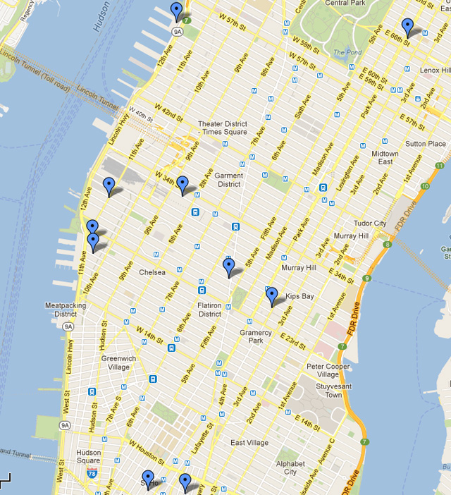 A handy map showing the locations of all the fairs