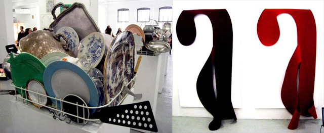 Left, Nicole Wermers displays everything but the kitchen sink - and its for sale! Right, Felt pieces by Blake Rayne (all photos by the author for Hyperallergic unless otherwise noted)
