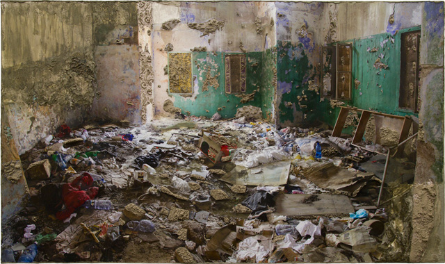 """Naomi Safran-Hon, """"Wadi Salib: Living Room with 4 Windows"""" (2013), archival ink jet print, lace, and cement on canvas, 72.5 x 42.5 in"""