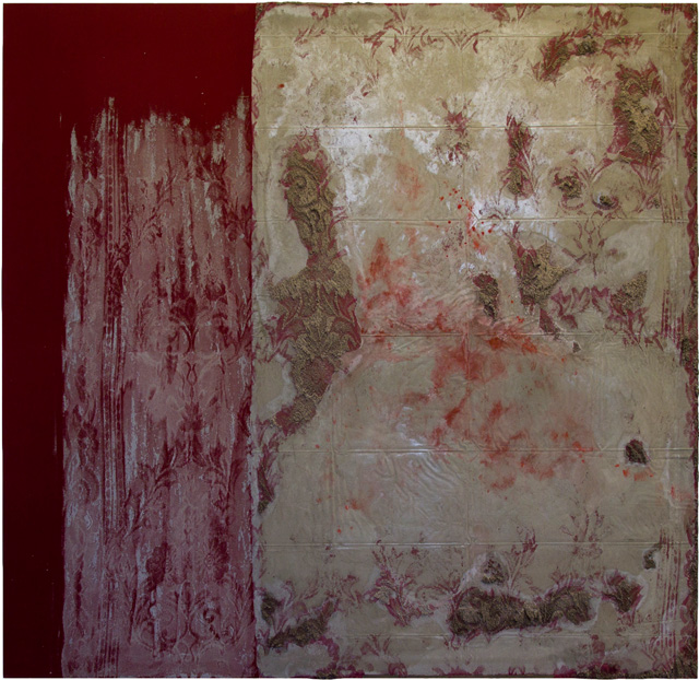 """Naomi Safran-Hon, """"Interior Wall I (Red)"""" (2012), cement, pigment, lace, and fabric, 62 x 64 in"""