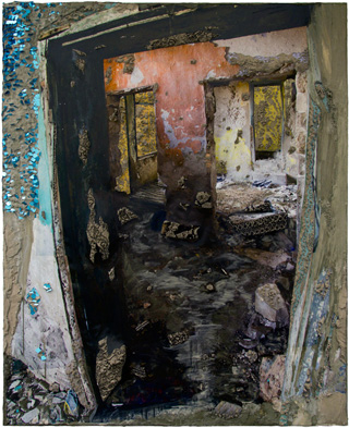"""Naomi Safran-Hon, """"Wadi Salib: Doorway"""" (2013), archival ink jet print, lace, and cement on canvas, 42.5 x 52.5 in (click to enlarge)"""