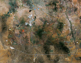 A map of a portion of the Sonoran Desert showing the spot where Marisol was found (click to enlarge) (courtesy UM Institute for the Humanities)