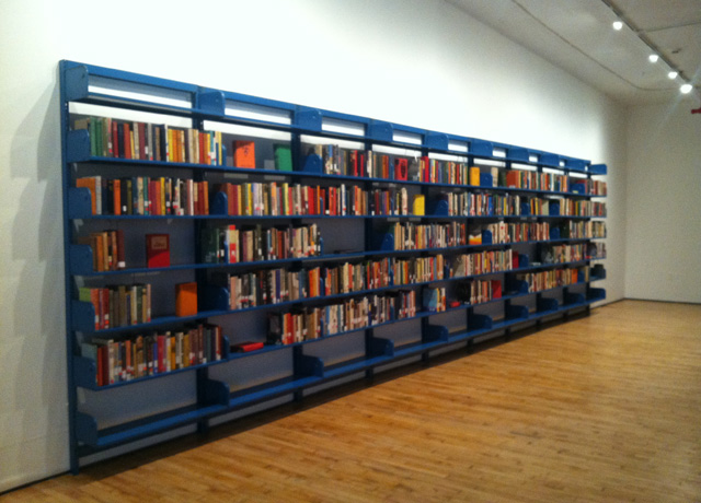 """Meriç Algün Ringborg, """"The Library of Unborrowed Books"""" (2013) (all photos by the author for Hyperallergic)"""