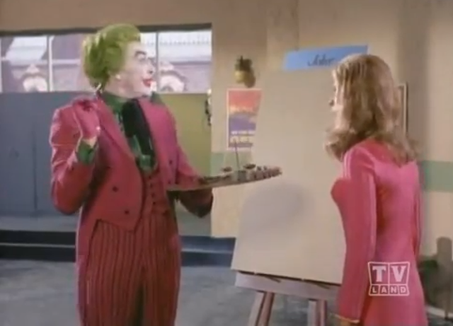 """A screen capture from the two-part """"Pop Goes the Joker"""" episode of the 1966 Batman series."""