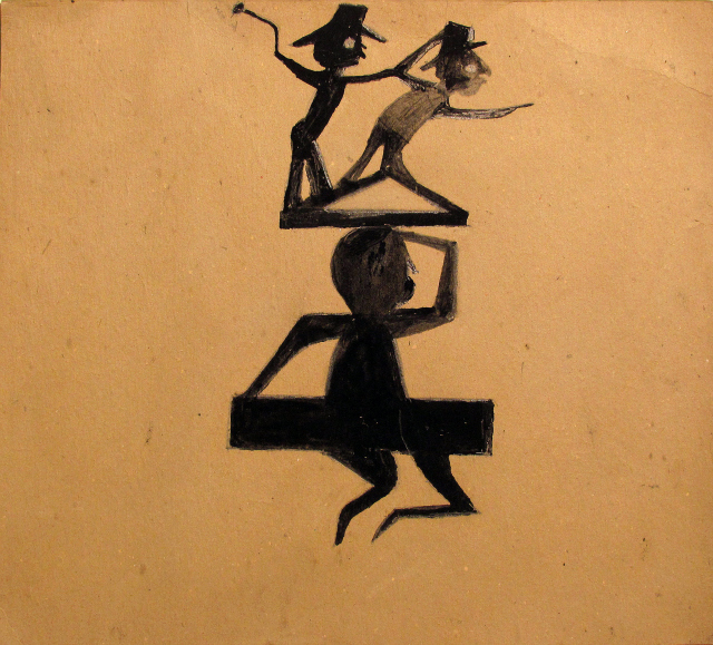 Bill Traylor, Three Figure Construction in Black, Circa 1939-42, Pencil, poster paint on found cardboard, 14 × 14 1/2 in., Courtesy Carl Hammer Gallery, Booth 260.