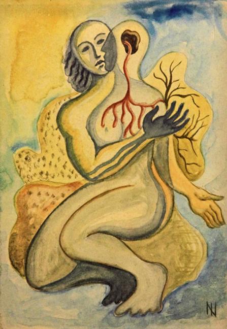 """Ismael Nery, """"Duas Figuras"""" (1930) (via Galeria Espaço Arte)"""