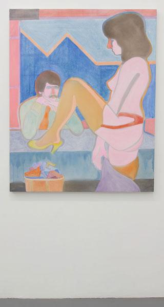 "Max Maslansky, ""Break Time"" (2012), acrylic on bed sheet, 40x50"""