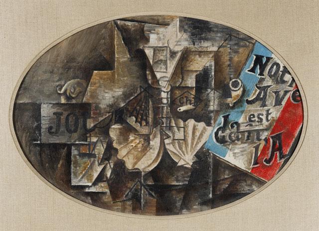 "Pablo Picasso, ""La coquille Saint-Jaques (""Notre avenir est dans l'air"") / (The Scallop Shell [""Notre avenir est dans l'air""])"" (May 1912), oil on canvas, oval: 15 x 21 ¾ in. (38 x 55 cm), Leonard A. Lauder Cubist Collection; 2013 Estate of Pablo Picasso/Artists Rights Society (ARS), New York"