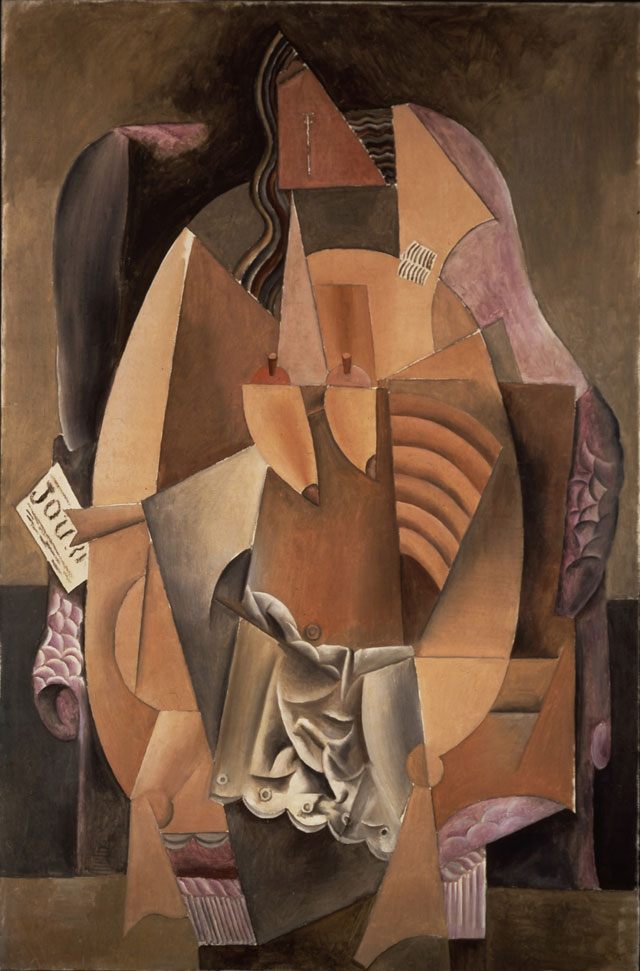 """Pablo Picasso, """"Femme assise dans un fauteuil (Eva) (Woman in an Armchair)"""" (1913), oil on canvas, 59 x 39 1/8 in. (148 x 99 cm), Leonard A. Lauder Cubist Collection; 2013 Estate of Pablo Picasso/Artists Rights Society (ARS), New York"""
