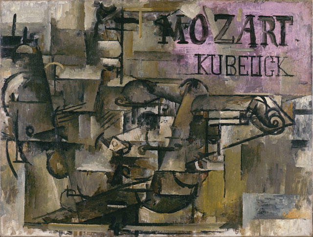 """Georges Braque, """"Le Violon (Mozart/Kubelick)"""" (The Violin [Mozart/Kubelick]. (Early (?) spring 1912), oil on canvas, 18 x 24 in. (45.7 x 61 cm), Leonard A. Lauder Cubist Collection; 2013 Artists Rights Society (ARS), New York/ADAGP, Paris"""