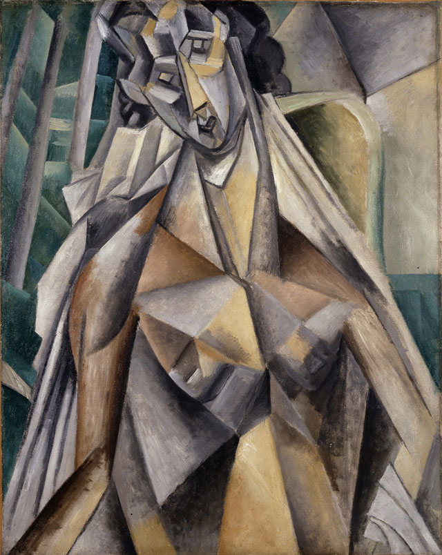 """Pablo Picasso, """"Nu dans un fauteuil (Nude Woman in an Armchair)"""" (Summer 1909), oil on canvas, 36 ¼ x 28 ¾ in. (92.7 x 74.9 cm), Leonard A. Lauder Cubist Collection; 2013 Estate of Pablo Picasso/Artists Rights Society (ARS), New York"""