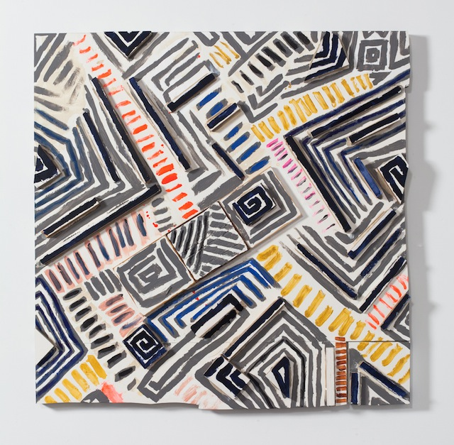 """Cordy Ryman, """"ES Trim Hatch and Coil"""" (2013). Acrylic and enamel on wood, 35.5 x 35.5 x 3 inches. Photo: Jason Mandella (All images courtesy of the artist and DODGEgallery.)"""