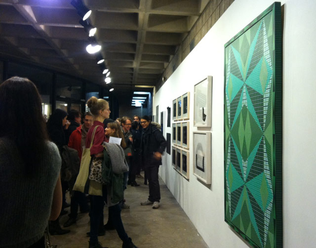 """Installation view of """"Decenter"""" at Abrons Arts Center, with Douglas Melini's """"Favorable Transformations"""" (2012) in the foreground (all photos by the author for Hyperallergic)"""