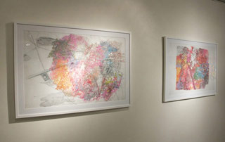 """Simonetta Moro, left:  """"Imaginary map #1 (Points of Departure)"""" (2006), ink, graphite, pastel, and charcoal on Mylar, 29 x 41 in; right: """"Imaginary Map #3"""" (2006), ink, graphite, pastel, and acrylic on Mylar, 29 x 41 in (click to enlarge)"""