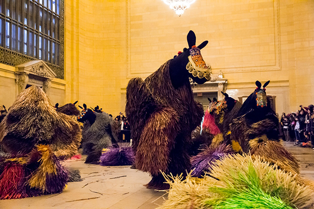Nick Cave's horses in action at Grand Central (Photo by Travis Magee, courtesy Creative Time)