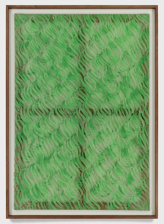 """Carla Accardi, """"Segni verdi"""" (1967). Enamel on sicofoil, 63 x 43 5/16 inches (68 x 48 3/8 x 2 1/2 inches with frame). Courtesy Sperone Westwater, New York. Click to enlarge."""