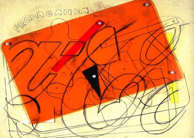"Mario Schifano, ""Propaganda"" (1965). Enamel and graphite with Plexiglas collage on canvas, 32 1/4 x 40 1/8 inches. Courtesy Sperone Westwater, New York."