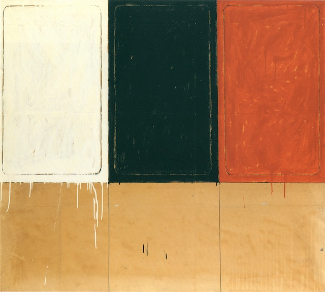"""Mario Schifano, """"La stanza dei Disegni"""" (1962). Enamel paint and charcoal on paper mounted on canvas, 63 x 70 7/8 inches. Courtesy Sperone Westwater, New York."""