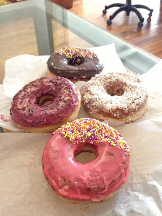 Four kinds of Kenny Scharf Doughnut Plant donuts (click to enlarge) (all photos by Hrag Vartanian for Hyperallergic)
