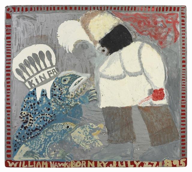"William Hawkins, ""Magical Toad,"" (Kin Frog) (1987), Enamel on Masonite, 43 x 48 in; 109.2 x 121.9 cm"