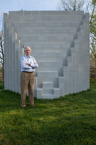 Al Shands beside a work by Sol Lewitt on the grounds of his estate outside Louisville, Kentucky. (photo by Ross Gordon)