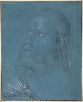 "Albrecht Dürer, ""Head of an Apostle Looking Up"" (1508). Brush and gray and black ink, gray wash; heightened with white on blue prepared paper; fracture line from top to bottom approximately 2 cm from right edge of drawing. Overall:11 1/2 x 9 1/4 inches; overall (framed): 20 3/4 x 18 3/8 x 1 3/4 inches. Albertina, Vienna. Click to enlarge."
