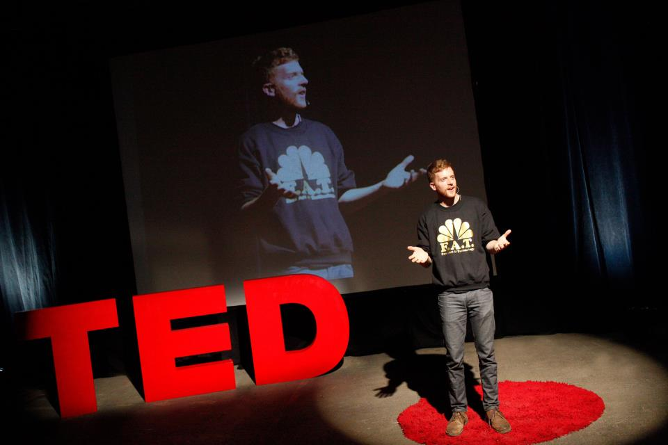 """F.A.T. member Bennett Williamson at Evan Roth's """"Pirate TED"""" (Photo via Eyebeam)"""