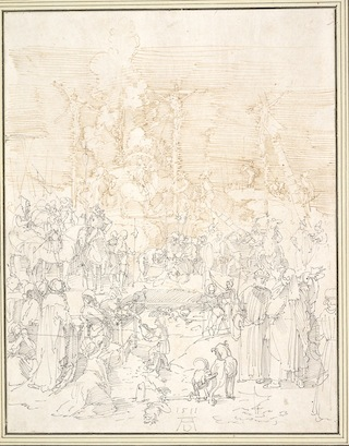 """Albrecht Dürer, """"Calvary"""" (1511). Pen and brown and black ink. Overall: 11 x 8 5/8 inches; overall (framed): 19 3/4 x 17 1/8 x 1 3/4 inches. Albertina, Vienna."""