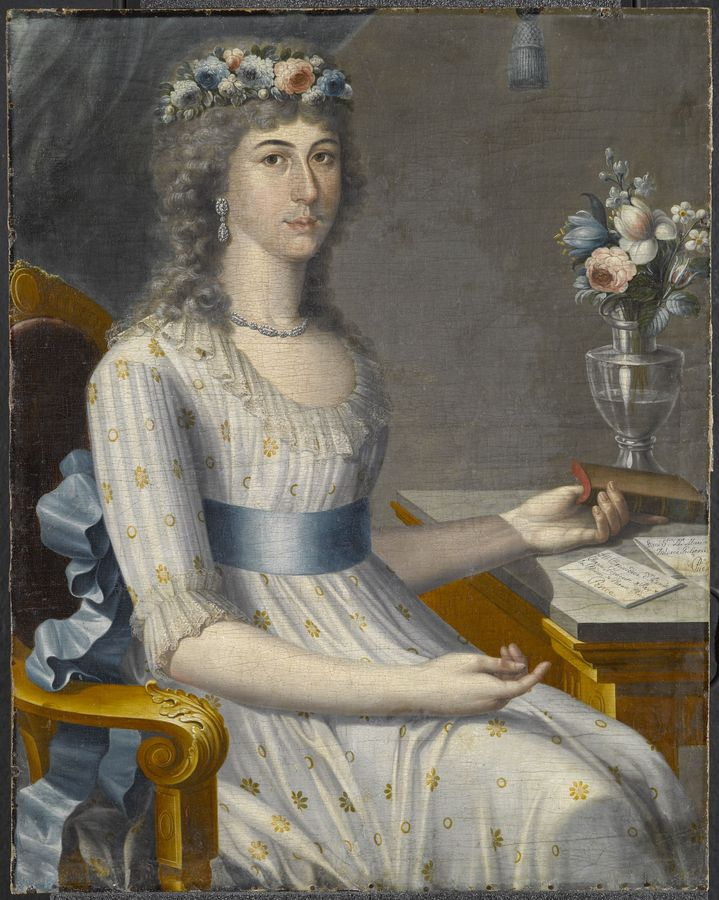 """José Campeche (Puerto Rican, 1751–1809), """"Doña María de los Dolores Gutiérrez del Mazo y Pérez"""" (1796), oil on canvas, 34 x 25"""