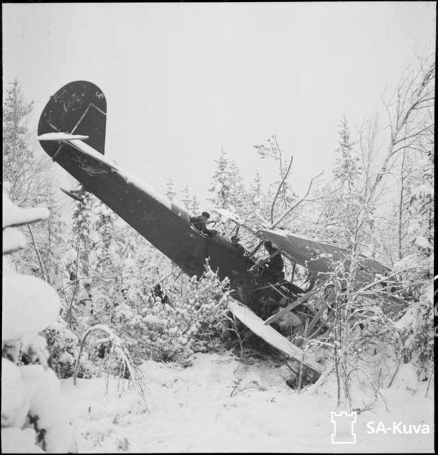 An airplane that has been shot down.