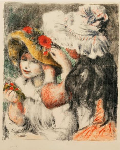 """Pierre-Auguste Renoir, """"Le Chapeau Épingle (The Hat Pin)"""" (1898), color lithograph on paper (courtesy Fisk Collection, via NashvilleArts)"""