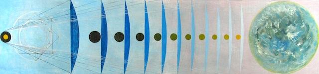"Ben La Rocco, ""Generating The Zodiac"" (2013). Oil and graphite on wood, 11 x 48 inches."