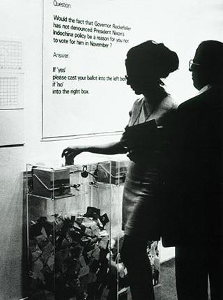"Documentation of Hans Haacke's ""MoMA Poll"" (1970) (via arts.ucsb.edu)"