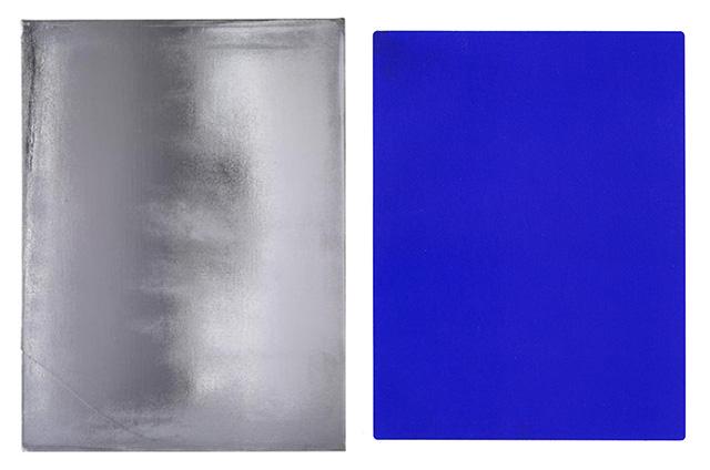 Left, Jacob Kassay, Untitled (2010) (Image via thepaintedwrd.wordpress.com). Right,