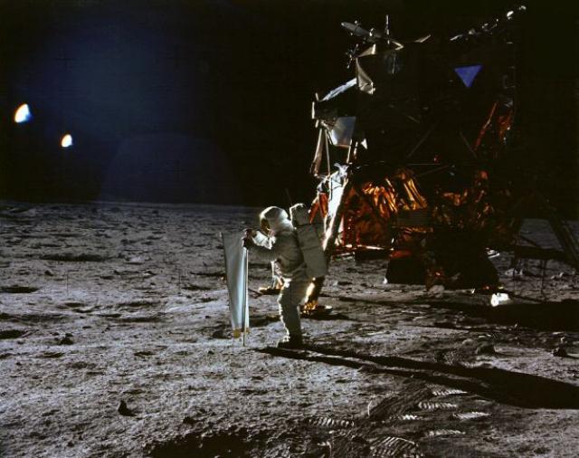Buzz Aldrin at the Apollo 11 moon landing site (via NASA)