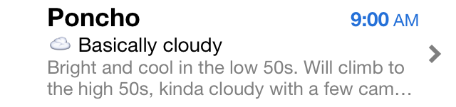 Poncho's email headline