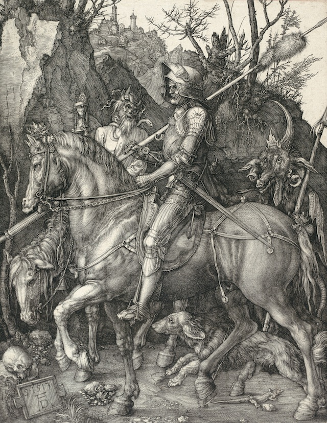 """Albrecht Dürer, """"Knight, Death and Devil"""" (1513). Engraving, overall: 9 5/8 x 7 3/8 inches. Albertina, Vienna (image courtesy the National Gallery of Art, Washington, DC)"""