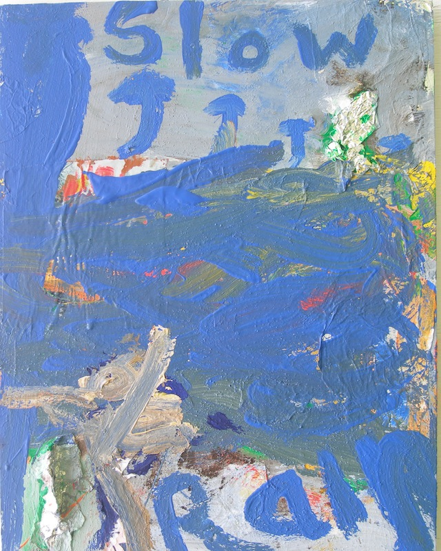 """Peter Acheson, """"Slow Rain"""" (2012). Acrylic with foil on canvas, 24 x 18 inches."""