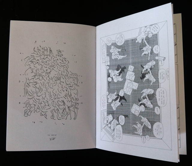 An encrypted drawing on left, and an overhead comic on the right