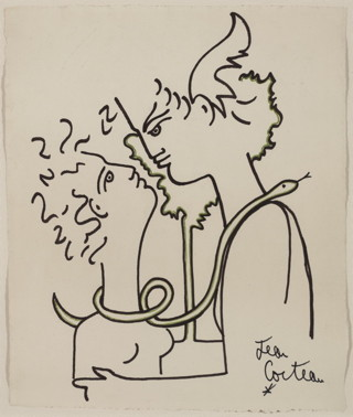 """Jean Cocteau, """"Adam and Eve"""" (c. 1959), markers on paper, 40 x 49 cm (click to enlarge) (© Comité Cocteau, © Collection I. Kontaxopoulos & Alexander Prokopchuk Collection of Modern Art, Brussels)"""