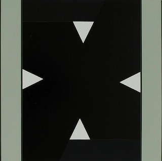 """Don Voisine, """"Dub Step"""" (2013), Oil and flasche on wood panel 11.75  x 11.75 inches. Click to enlarge"""