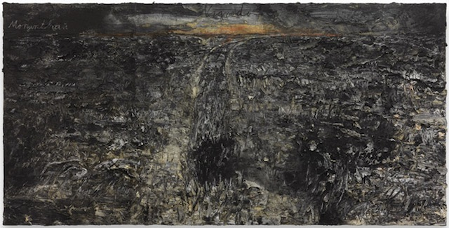 """Anselm Kiefer, """"Nigredo – Morgenthau"""" (2012), acrylic, emulsion, oil, and shellac on photograph mounted on canvas, 74 13/16 x 149 5/8 inches (© Anselm Kiefer, courtesy Gagosian Gallery, photography by Charles Duprat)"""