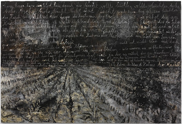 """Anselm Kiefer, """"Oh Halme, ihr Halme, oh Halme der Nacht"""" (2012). Acrylic, emulsion, oil and shellac on photograph mounted on canvas, 149 5/8 x 220 1/2 inches. © Anselm Kiefer. Courtesy Gagosian Gallery. Photography by Charles Duprat."""