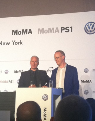 """Klaus Biesenbach and Hans Ulrich Obrist speaking at the press preview for """"Expo 1"""" (click to enlarge)"""